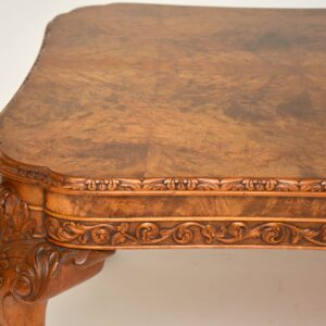 Antique Carved Walnut Queen Anne Dining Table & 8 Chairs