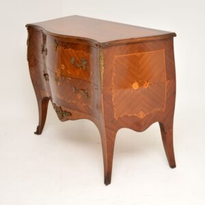 antique french inlaid marquetry bombe commode