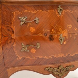 antique inlaid marquetry french bombe chest commode