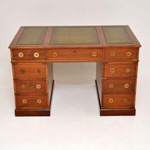 antique mahogany military campaign style desk