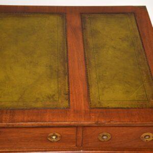 Antique Military Campaign Mahogany Leather Top Pedestal Desk