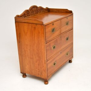 Antique Camphor Wood Military Campaign Chest of Drawers