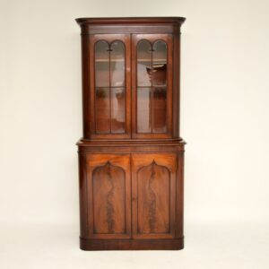 antique victorian mahogany library bookcase