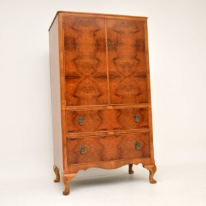 antique figured walnut compactum wardrobe tall boy
