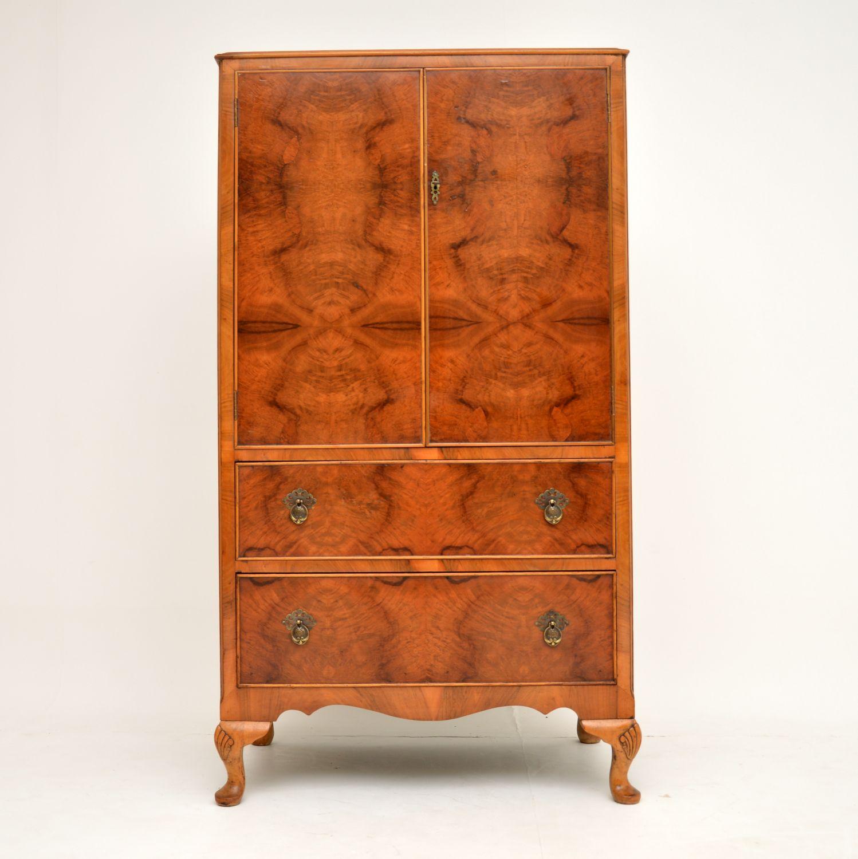 antique figured walnut compactum wardrobe tall boy