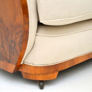art deco walnut cloub back sofa by epstein