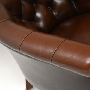 pair of antique leather tub club armchairs chairs