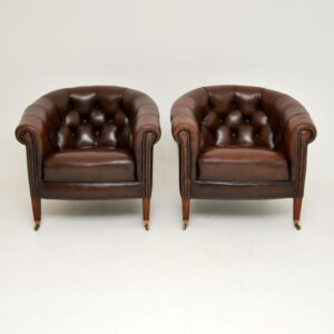 Pair of Antique Georgian Style Leather Tub Armchairs