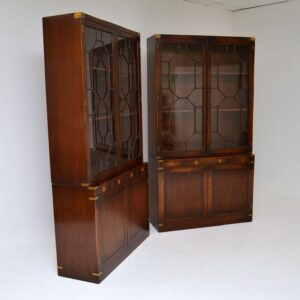 pair of antique mahogany military campaign bookcase bookcases