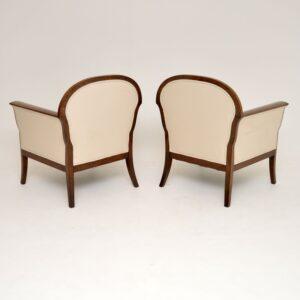 Pair of Antique Swedish Satin Birch Biedermeier Style Armchairs
