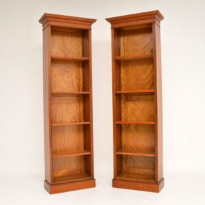 pair antique victorian satin wood open bookcase bookcases