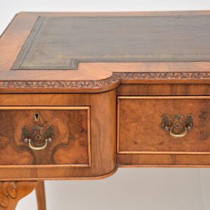 antique burr walnut leather writing table desk