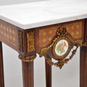 antique french marble top console hall table