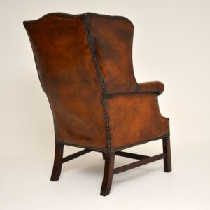 Antique Leather & Mahogany Wing Back Armchair