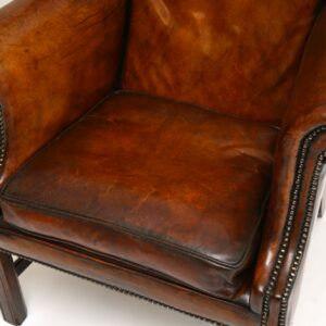 antique georgian leather wing back armchair