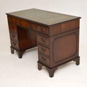 antique mahogany leather pedestal desk