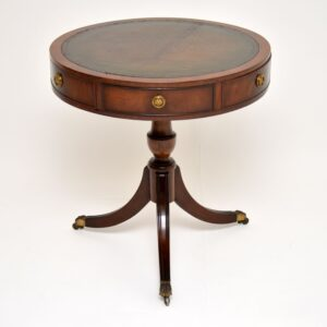 antique regency mahogany leather drum table