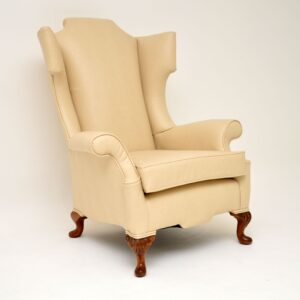 Antique William & Mary Style Faux Leather Wing Back Armchair