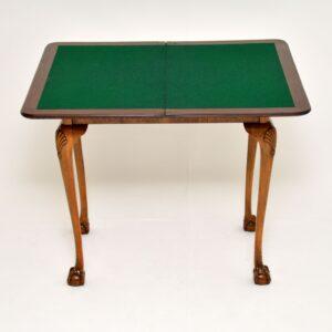 antique queen anne walnut card table