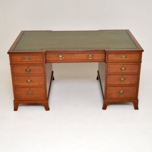 antique georgian mahogany leather pedestal desk