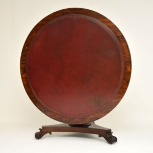 Antique William IV Rosewood Leather Top Drum, Dining or Centre Table