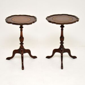 pair antique mahogany leather wine side tables