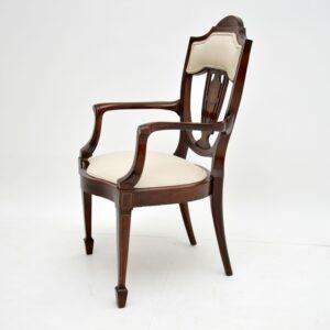 Antique Edwardian Inlaid Mahogany Armchair