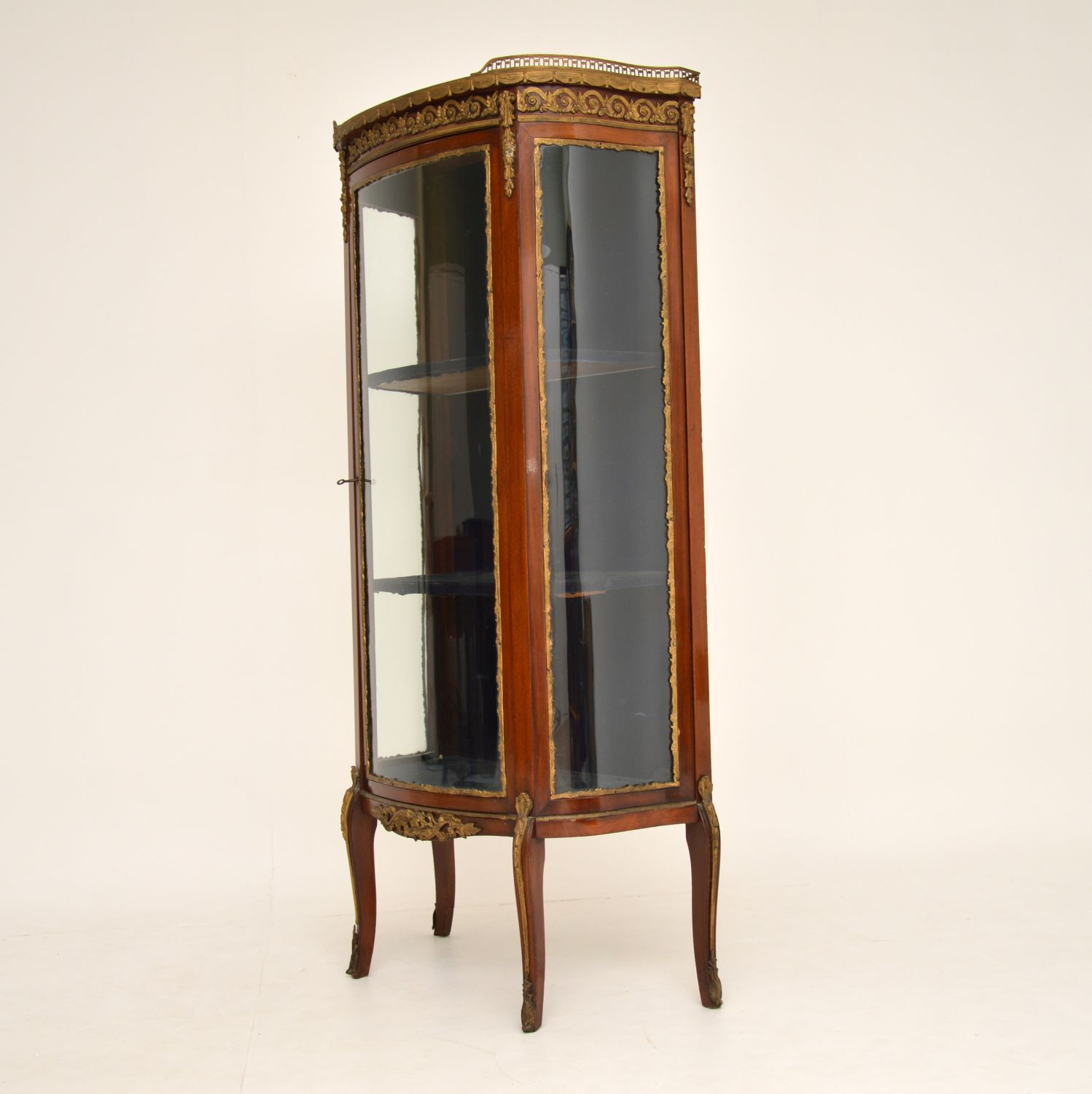 antique french mahogany marble glass vitrine display cabinet