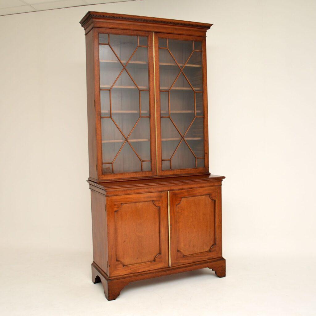 antique georgian period mahogany brass bookcase