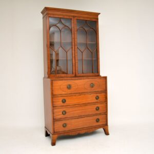 antique inlaid mahogany secretaire bureau bookcase