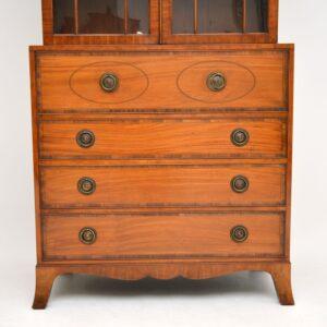 antique inlaid mahogany secretaire bureau bookcase