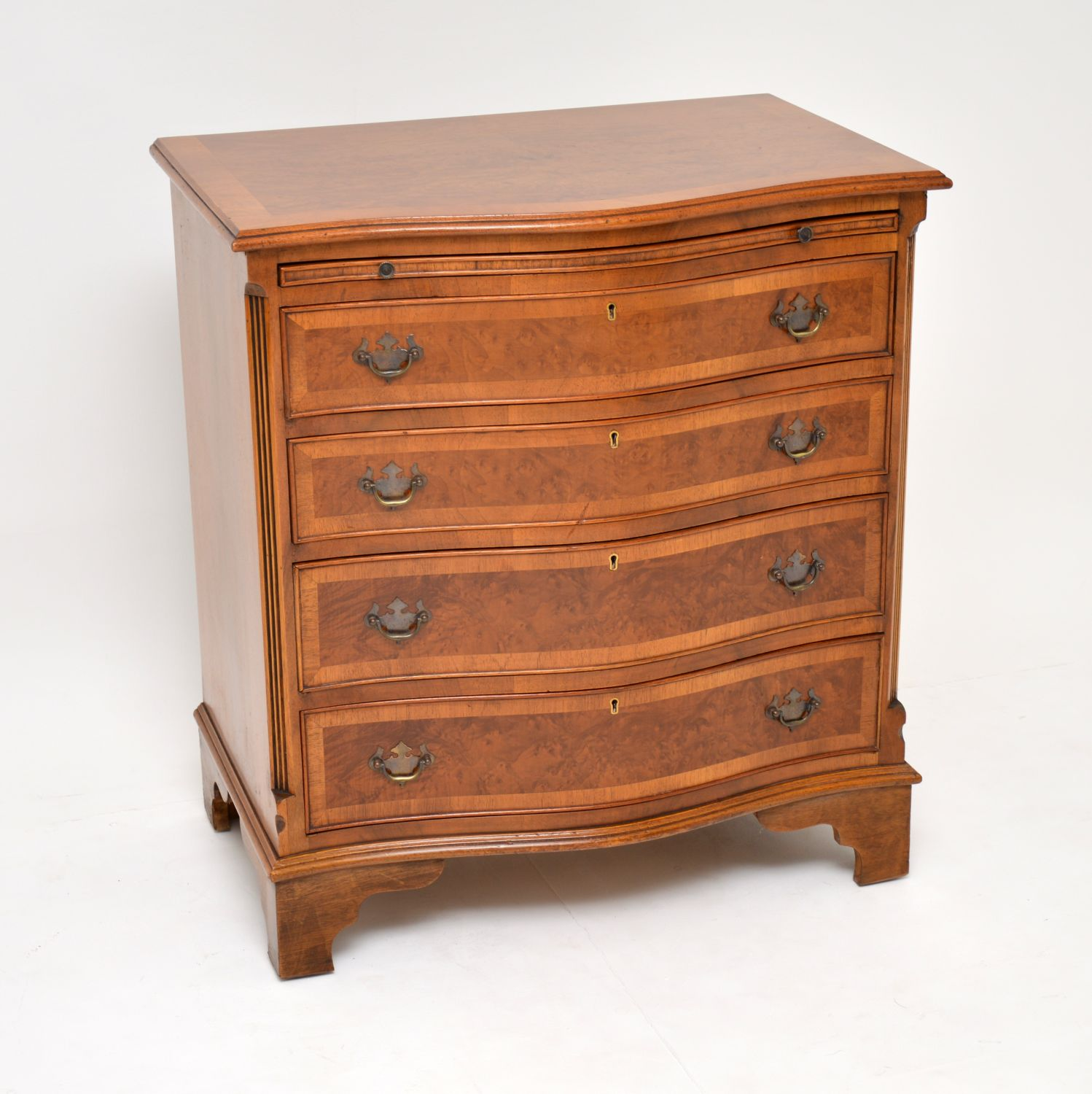 antique georgian style burr walnut bachelors chest of drawers