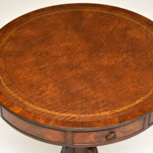 antique leather mahogany drum table