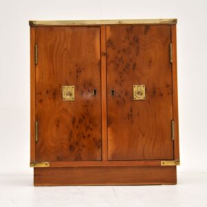 antique yew wood military campaign medicine hall cabinet