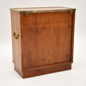 Antique Military Campaign Style Yew Wood Miniature Cabinet