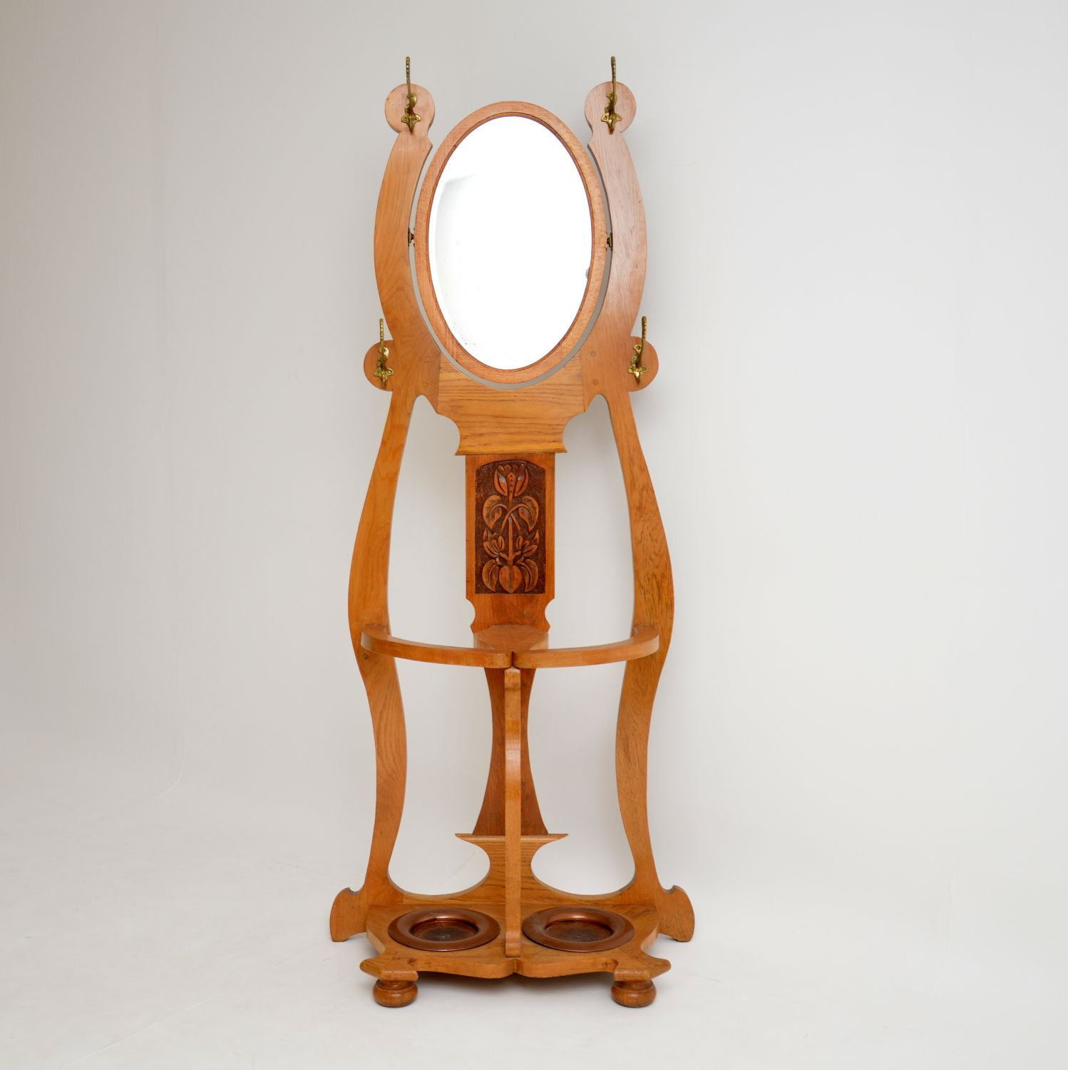 antique edwardian arts and crafts art noveau hall stand