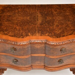 antique burr walnut low boy chest of drawers on legs