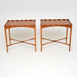 pair of antique yew wood satin wood side lamp tables