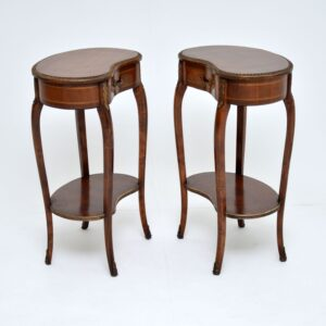 pair antique french kidney mahogany side lamp bedside tables