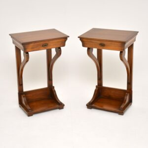 pair of antique georgian yew wood side tables
