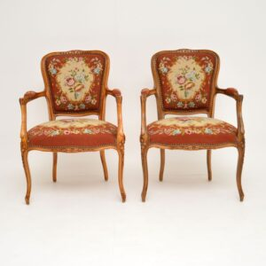 pair of antique french tapestry salon chairs armchairs