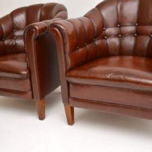 pair of antique swedish leather club tub chairs armchairs