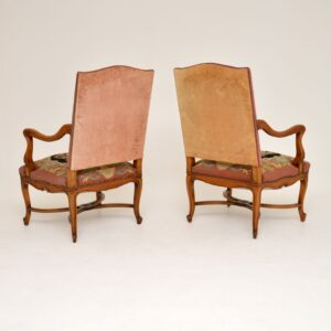 Pair of Antique Carolean Style Needlepoint Armchairs