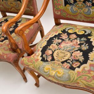 pair of antique swedish needlepoint tapestry armchairs