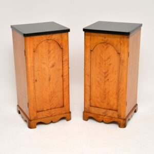 pair of antique satin birch swedish bedside cabinets