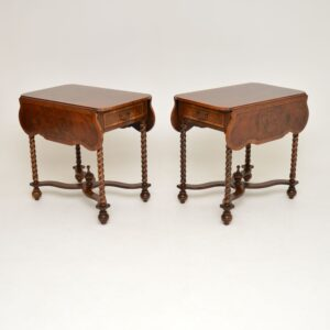 pair of antique burr walnut drop leaf side lamp sofa tables