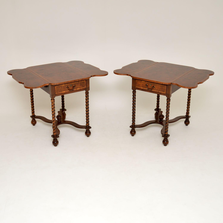 pair of antique burr walnut drop leaf side lamp sofa tables