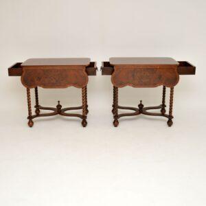 Pair of Antique Burr Walnut Drop Leaf Side Tables