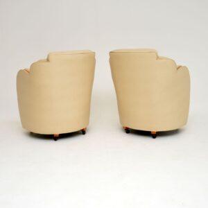 pair art deco cloud back leather epstein armchairs
