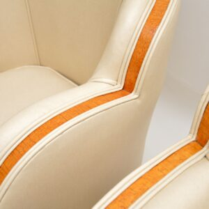 pair art deco cloud back leather epstein armchairs